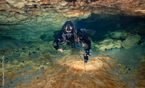 Tablou Canvas Cave Diving at Madison Blue Spring State Park, Madison County, Florida