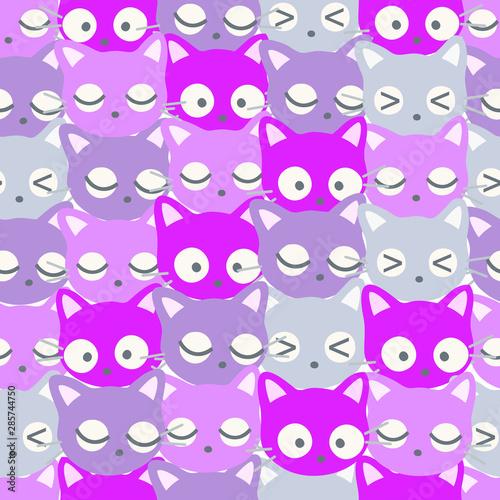 Seamless Pattern Kawaii Cats, Cartoon Animals Background, Vector Illustration
