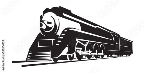 Fotografie, Obraz vector template with a locomotive, vintage train