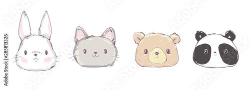 Photo Cute Set Animals, Hand Drawn Cute Rabbit, Bear, Panda and Cat, Vector Illustration