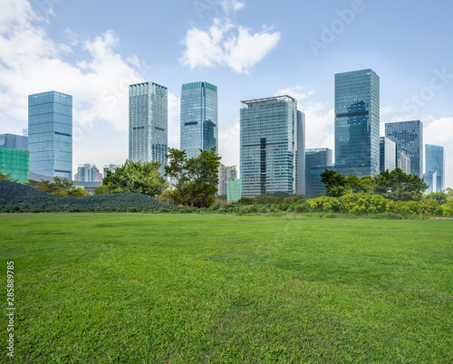 The grass and the city in Shenzhen, China.