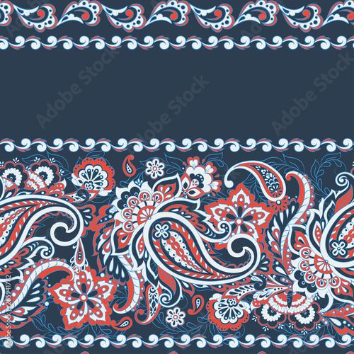Paisley and ethnic flowers seamless vector pattern Fototapeta