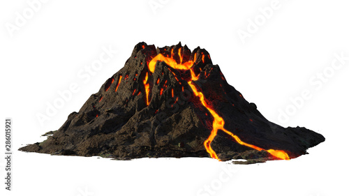 Canvas Print volcano eruption, lava coming down a mountain, isolated on white background