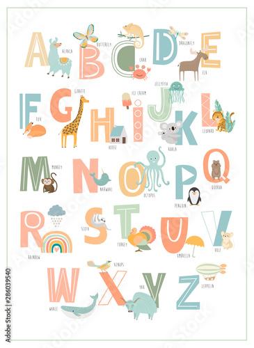 Kids english alphabet, A to Z with cute cartoon animals Fototapeta