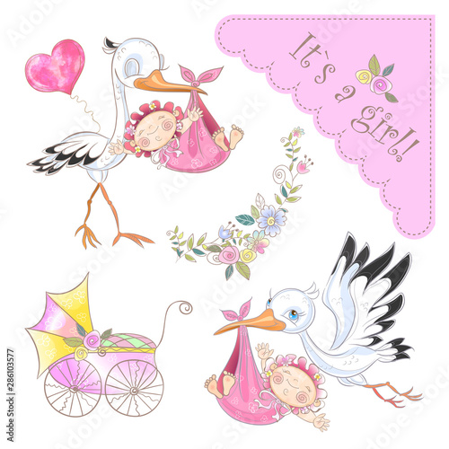 Photo Set of illustrations for the birth of a girl