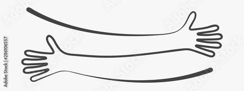 Photo Simple line creating hug drawing. Vector illustration