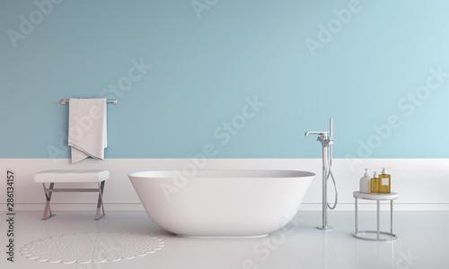 Photographie Blue bathroom interior bathtub, 3D rendering