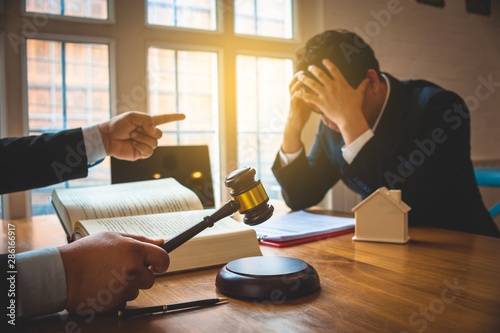 Murais de parede Businessman feels stressed when filed for bankruptcy, bankruptcy and execution concept