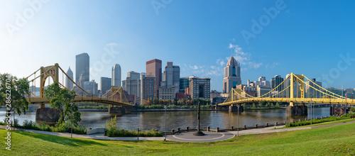 Obraz na płótnie Cityscape of Pittsburgh with two bridges
