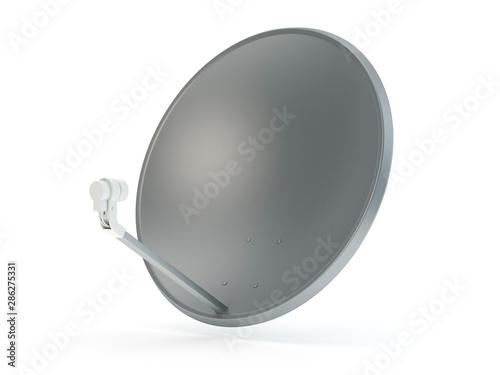 Leinwand Poster Sattelite dish tv antenna isolated on white, 3D illustration
