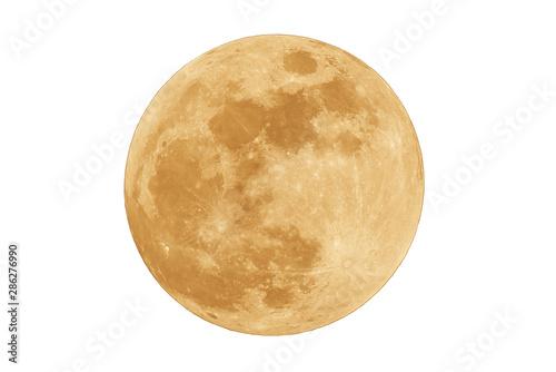 Fotografiet Full moon isolated on white background.