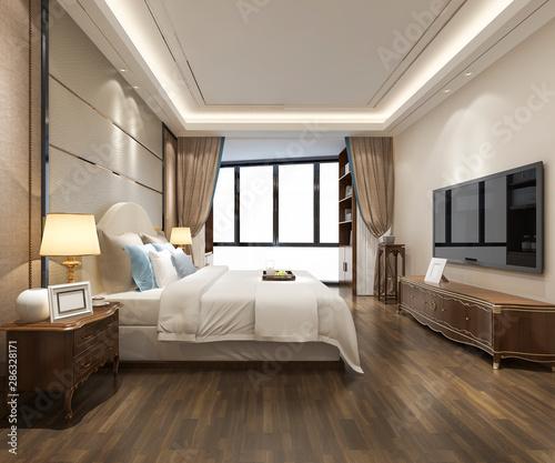 Canvas Print 3d rendering luxury modern bedroom suite in hotel