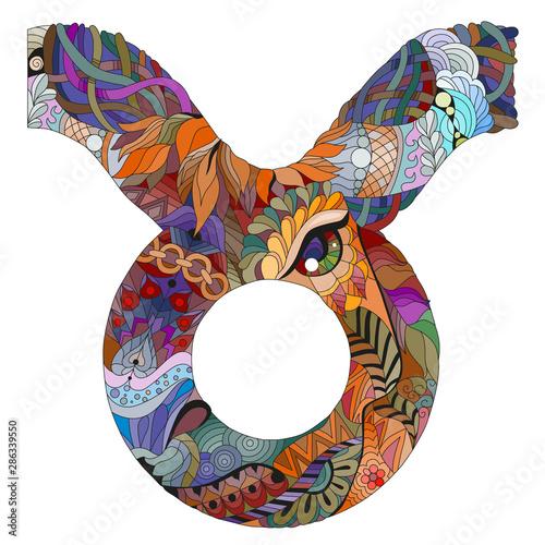 Obraz na plátně Taurus zodiac sign cute cartoon character retro zentangle stylized in vector