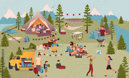 Stampa su Tela Holidaymakers in summer camp flat vector illustration
