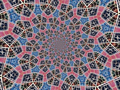 Fototapeta Colorful digital graphic kaleidoscope symmetry mandala style in laser light tria