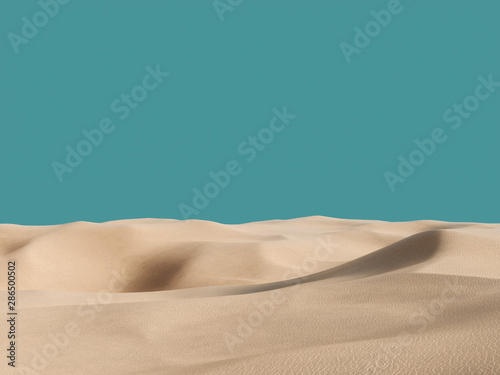 Abstract pure sand dunes in desert under blue empty sky Poster Mural XXL