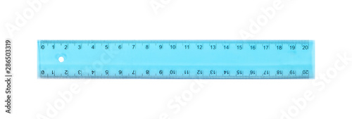 Canvas Print Science and education - Plastic blue school ruler isolated