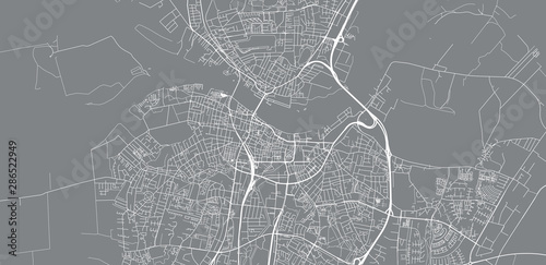 Canvas Print Urban vector city map of Aalborg, Denmark