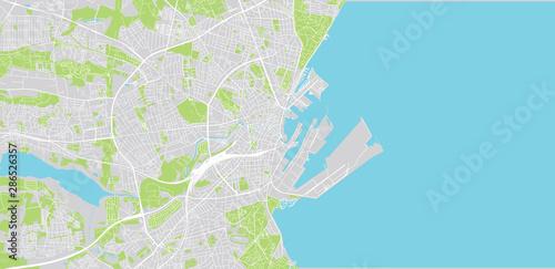 Obraz na plátně Urban vector city map of Aarhus, Denmark