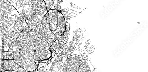 Obraz na plátně Urban vector city map of Copenhagen, Denmark