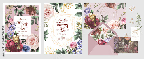 Wedding invitation, save the date or flyer\card for any event and party. Original floral greeting with flowers, plants, leaves and a bird of paradise of happiness