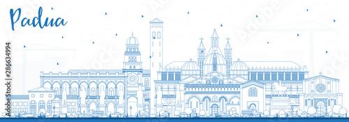 Canvas Print Outline Padua Italy City Skyline with Blue Buildings.
