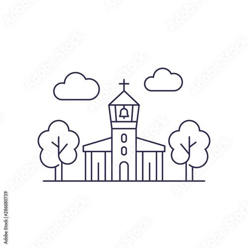 church with belfry, vector line art Tapéta, Fotótapéta