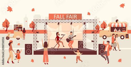 Fotografie, Tablou Fall fair flat vector illustration