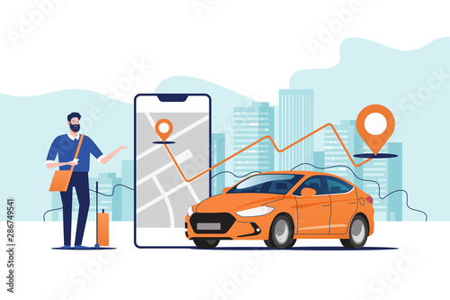 Photo Online ordering taxi car, rent and sharing using service mobile application