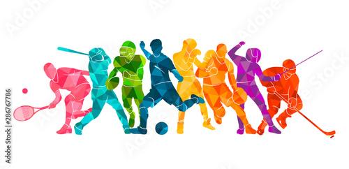 Color sport background. Football, basketball, hockey, box, \nbaseball, tennis. Vector illustration colorful silhouettes athletes