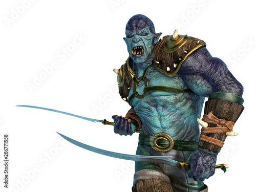 orc warrior marching with swords close up