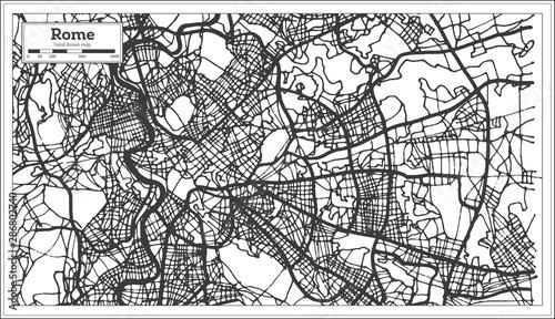Fotografie, Obraz Rome Italy City Map in Black and White Color.