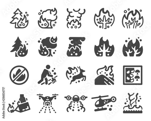 Valokuva wildfire and fire disaster icon set,vector and illustration
