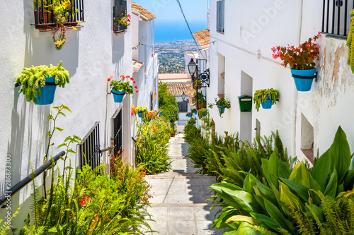 Canvas Print White streets of Mijas. Andalusia, Spain