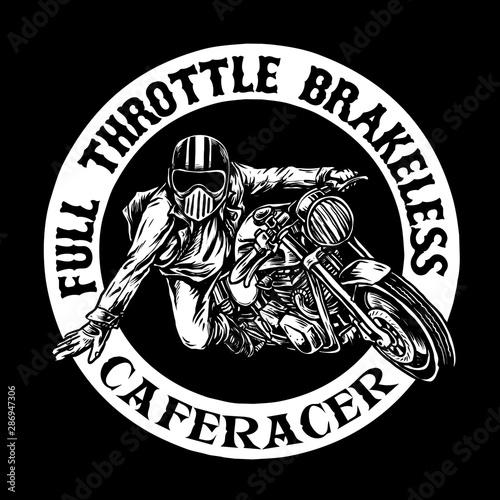 Obraz na plátne cafe racer vintage motorcycle vector design