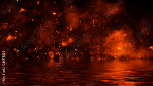 Photo Texture of fire with reflection in water