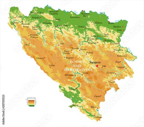 Photo Bosnia and Herzegovina physical map