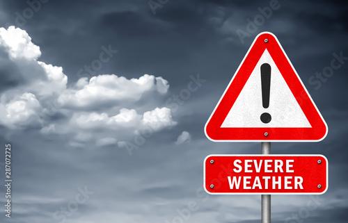 Fotografie, Obraz Severe Weather - road sign warning