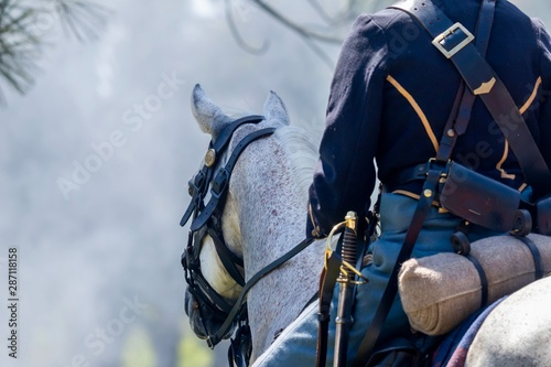 Horse and rider during an American Civil War Re-enactment Fototapete