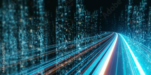 Renderowanie 3D abstrakcyjnej ścieżki autostrady przez cyfrowe wieże binarne w mieście. Pojęcie dużych zbiorów danych, uczenia maszynowego, sztucznej inteligencji, hiper-pętli, rzeczywistości wirtualnej, szybkiej sieci.