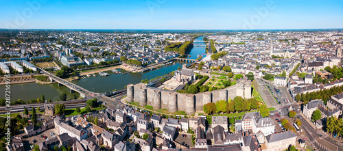 Tableau sur Toile Angers aerial panoramic view, France