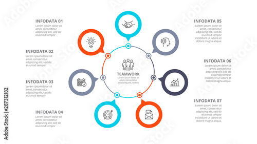 Photo Cyclic diagram infographic with circles