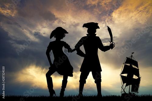 Obraz na płótnie illustration of pirates at sunset