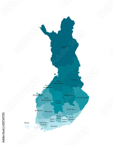 Canvas Print Vector isolated illustration of simplified administrative map of Finland