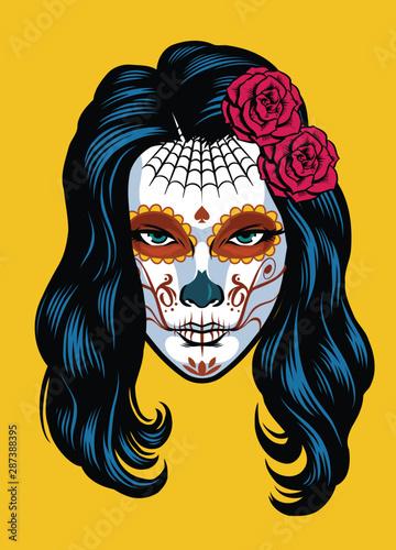 Fototapeta women on sugar skull make of dia de los muertos