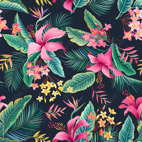 seamless floral pattern with tropical leaves and hibiscus on dark background