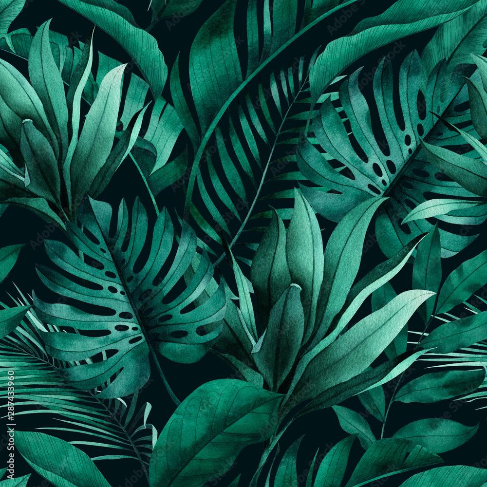 Fototapeta dżungli z monstera bananowce liście palmowe na c