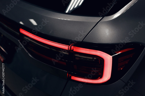 Canvas Print Close-up of the rear light of a modern car
