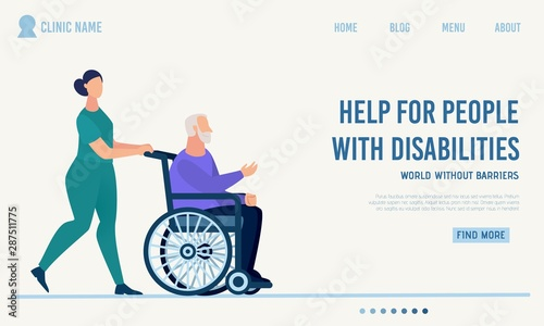 Obraz na płótnie Clinic Landing Page Offer Help for Disabled People