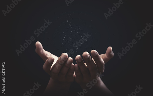 Obraz na plátně Praying hands with faith in religion and belief in God on blessing background